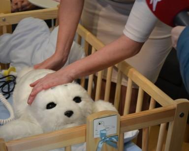 Prezentacja terapeutycznego robota, młodej foki Paro.