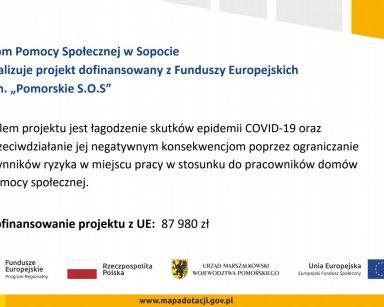 """Dom Pomocy Społecznej w Sopocie realizuje projekt dofinansowany z Funduszy Europejskich p.n. """"Pomorskie S.O.S"""""""