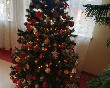 Duża choinka ustrojona złotymi i czerwonymi bombkami, dekoracja świąteczna na II piętrze