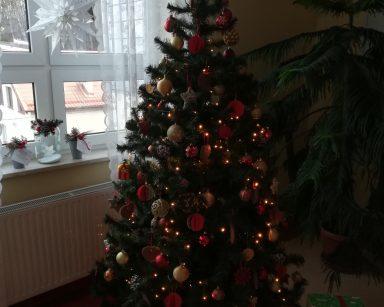 Duża choinka ustrojona złotymi i czerwonymi bombkami, za nią na parapecie szklane stroiki z bombkami dekoracja świąteczna na II piętrze