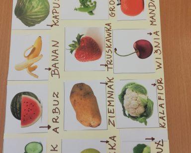 Na stole leży tablica do komunikacji AAC, przedstawia obrazki owoców i warzyw wraz z podpisami