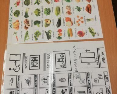 Na stole leżą tablice do komunikacji AAC z symbolami Makatona i podpisanymi obrazkami warzyw