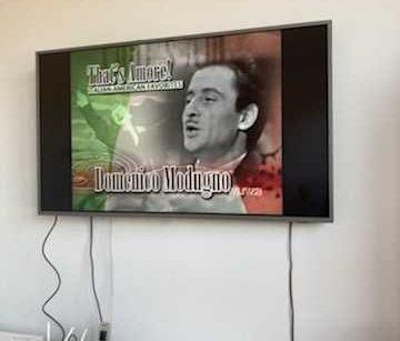Na jasnej ścianie wisi płaski telewizor. W zatrzymanym ujęciu widać zdjęcie włoskiego piosenkarza, pod nim zapisane jego imię i nazwisko: Domenico Modugno