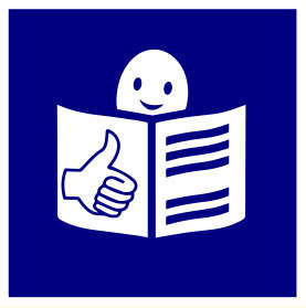 Logo easy to read. Na granatowym tle widać narysowaną białą głowę ludzika wystającą znad rozłożonej białej książki. Na jednej kartce jest przedstawiona dłoń z kciukiem uniesionym do góry. Na drugiej stronie widać pięć granatowych linii symbolizujących tekst