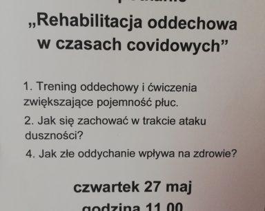 Plakat zapraszający na spotkanie o rehabilitacji oddechowej.