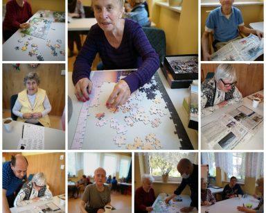 Kolaż zdjęć. Seniorzy układają puzzle, czytają gazetę, rozwiązują krzyżówki, rozmawiają.