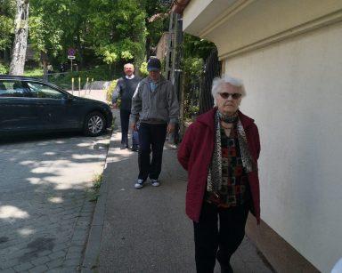 Troje seniorów idzie chodnikiem. Za nimi zielony las.