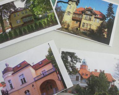 Cztery zdjęcia Sopotu. Na każdym inny budynek.