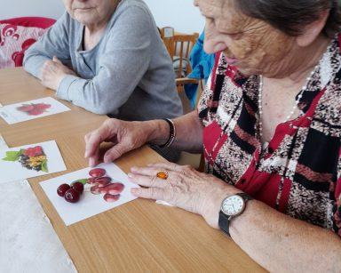 Dwie seniorki przy stole przed nimi obrazki malin, porzeczek i wiśni. Seniorka dopasowuje do obrazka wiśni świeże owoce.