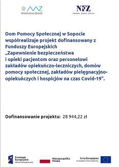 Plakat o współrealizacji projektu dofinansowanego z Funduszy Europejskich przez Dom Pomocy Społecznej w Sopocie.