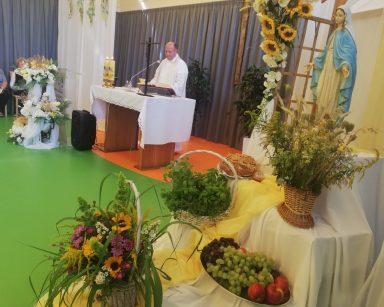 Ksiądz proboszcz Krzysztof Rybka przy ołtarzu. Po lewej stronie pergola z żółtymi, białymi kwiatami, figurką Maryi i darami.
