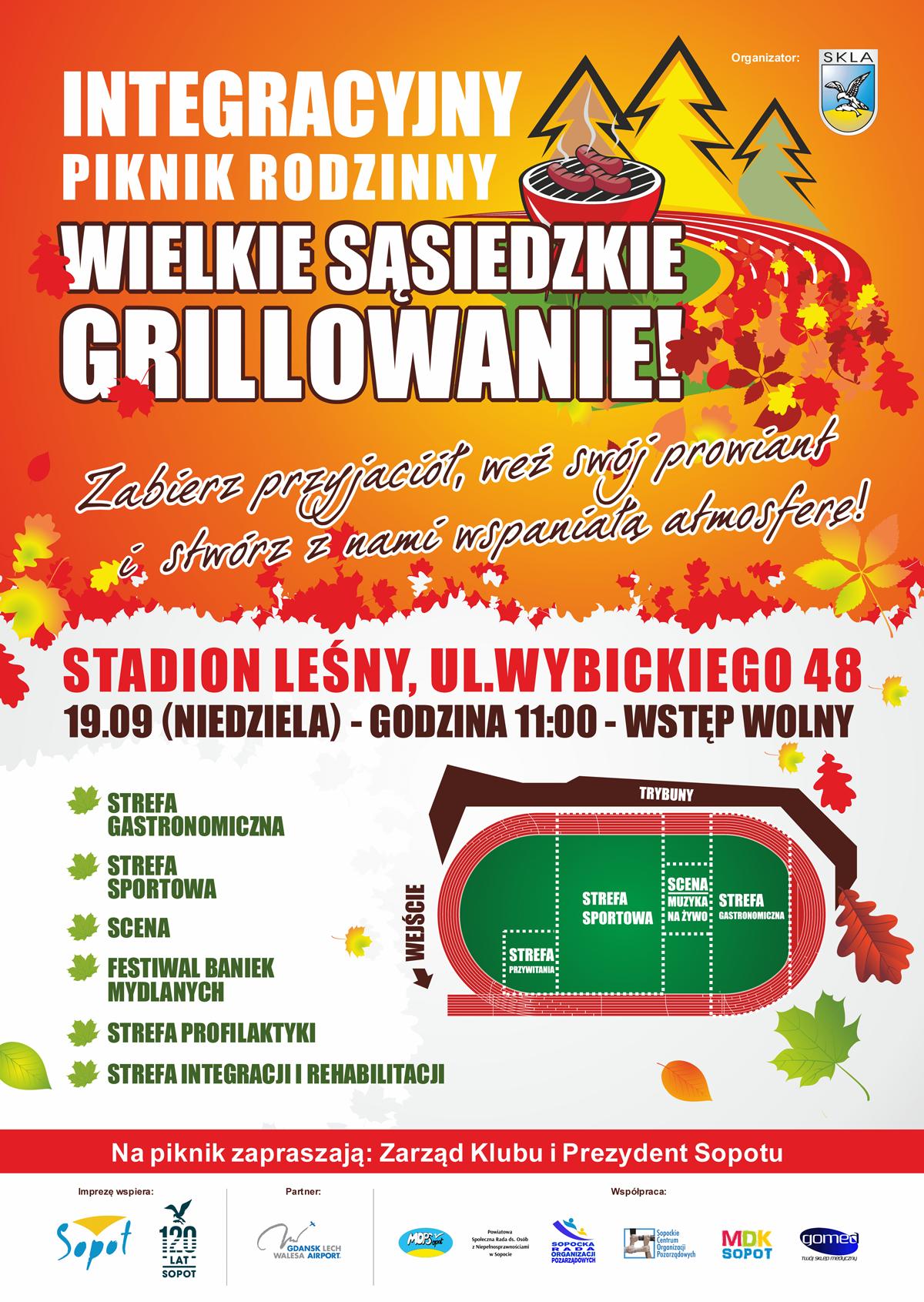 Plakat. Zaproszenie na Integracyjny Piknik Rodzinny, sąsiedzkie grillowanie 19 września na stadionie Leśnym w Sopocie.